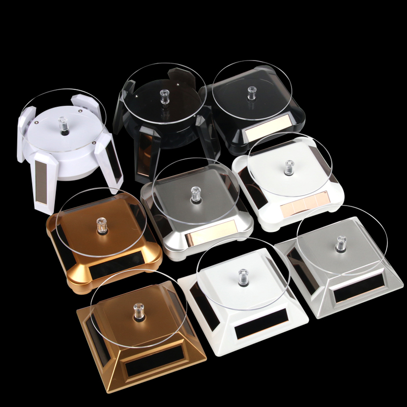 LED Light Solar Rotating Display Rotate Bracelet Jewelry Display Stand Holder Rotating Display Base Ring Turntable Stand Holder