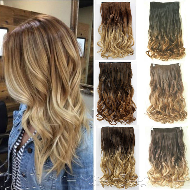 Hot Sale 24 60cm Curly Wavy One Piece Hair Extentions 3 4 Full Head Clip In Extensions Ombre Hairpiece 6 Color B40 On Aliexpress