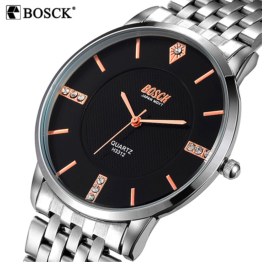 Bosck Ultra Thin Guartz Watch Luxury Brand Mens Watches Stainless Steel Wrist Male Diamond Man Watch Clock Men Relogio Masculino nakzen diamond men watch luxury brand sapphire watches mens stainless steel black gold wristwatch male clock relogio masculino