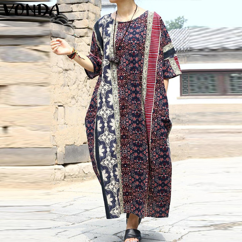 VONDA Maternity Clothes 2018 Summer Vintage Print Ankle-length Dress Pregnant Women Half Sleeve Casual Loose Pregnancy Vestidos