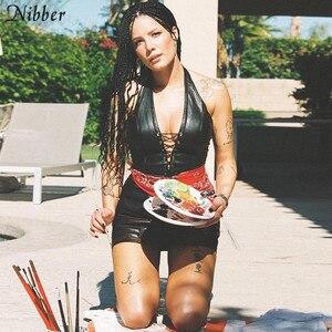 Image 4 - Nibber mode punk schwarz leder hollwo crop tops frauen leibchen 2019 sommer mode stretch tees Slim Weichem leder tank tops