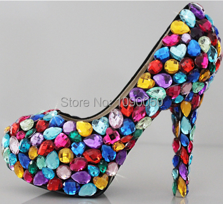 ФОТО 2016 Crystal wedding shoes rhinestone bridal high-heeled platform formal dress seven multicolour candy women's pumps Eur 33-40