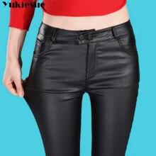 671d8e8b6c4c4 En cuir Leggings Femmes Nouveau Automne Hiver Taille Haute Leggings Plus de  Velours Crayon Pantalon Grande Taille PU Cuir Maigre.