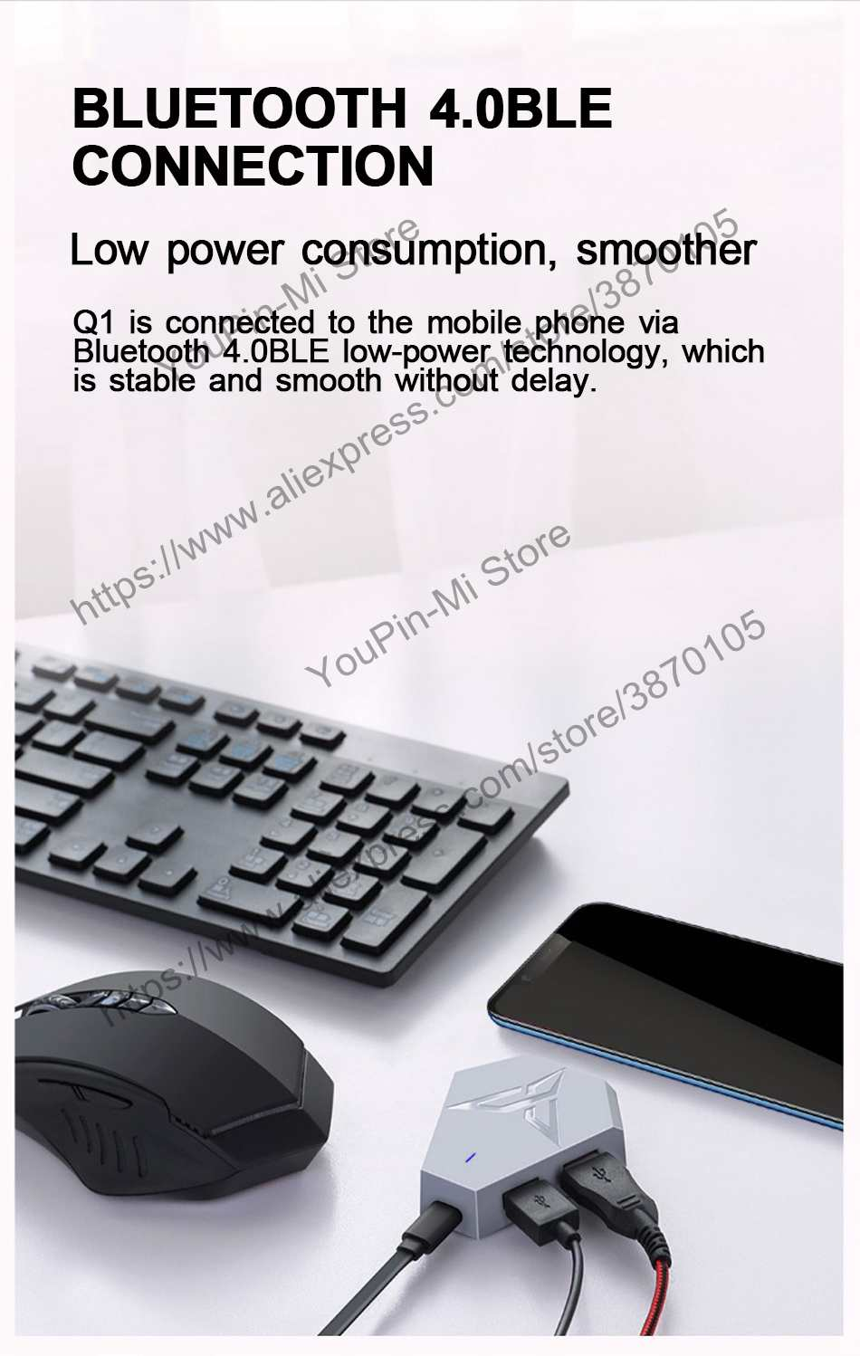 US $25 99  Xiaomi Flydigi Q1 Mobile Phone Games Keyboard and Mouse  converter High Frame Maping Custom Mouse Macro Function Support 7 Botton-in