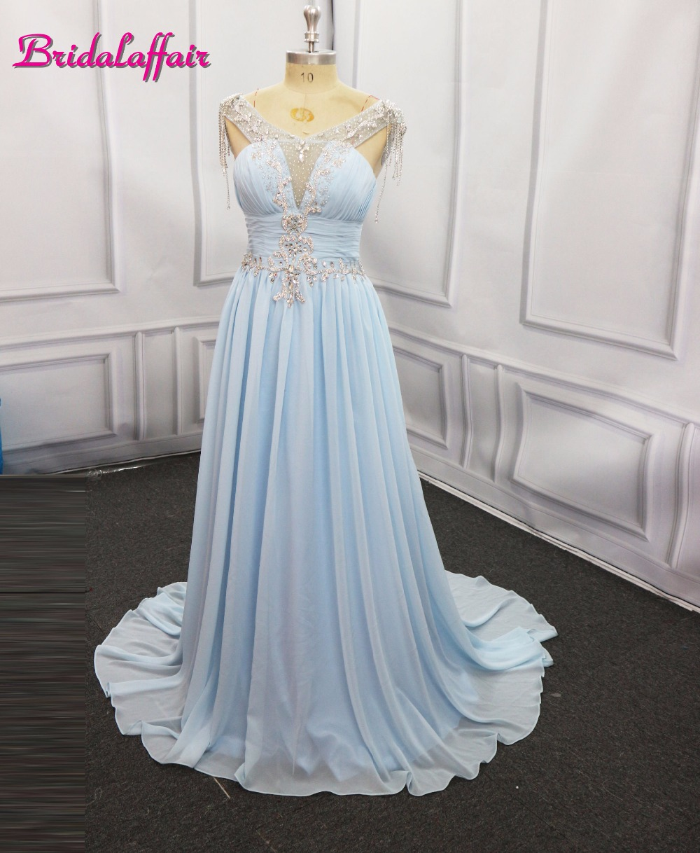 Sexy A-Line Baby Blue   Prom     Dress   2018 Long Halter Beaded Backless vestidos de fiesta Formal Evening Gown Party Pageant   Dresses