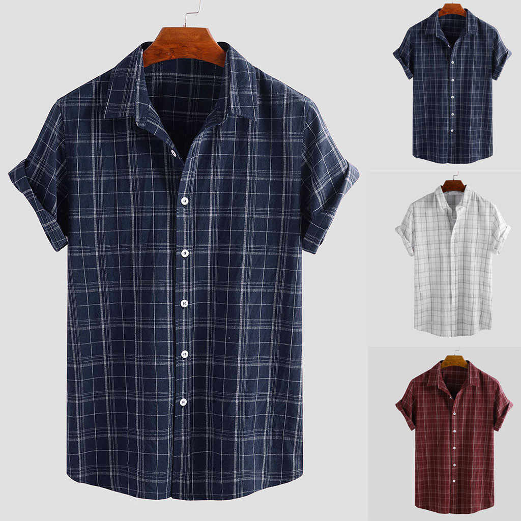 2019 Summer hawaiian Shirt Men Vintage Splicing  Linen Solid Short Sleeve Retro Shirts Tops Blouse Camisas Hombre Plus Size