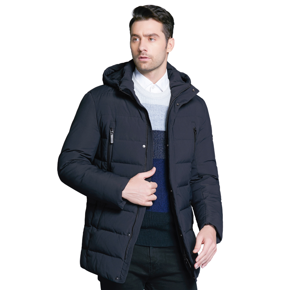 ICEbear 2018 new winter men's jacket with high quality fabric detachable hat for male's warm coat simple mens coat MWD18945D icebear 2018 fashion warm white lamb hat winter jacket for men winter bilateral chest pocket down cotton brand coat 16md881d