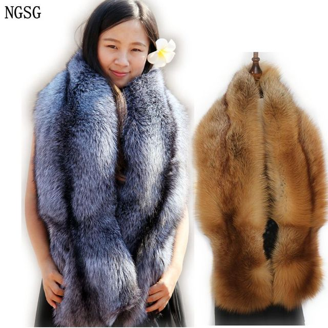 Natural Real Fur Scarf Shawl Women 120cm Winter Men Double sided Genuine Silver Fox Scarves Couples Luxury Grey Fox Collar