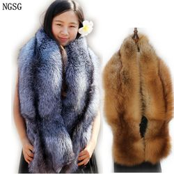 Natural Real Fur Scarves Women 120cm Winter Men Double-sided Genuine Silver Fox Scarf Couple's Luxury Grey Fox Collar Shawl