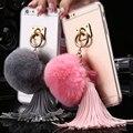 Сексуальная Прозрачный Чехол Для iPhone 6 6 S Для iPhone 6 Plus 6 S Plus SE 5 5S Shell Кольцо Стенд Кролика Волосы Мяч Кисточка Прозрачная Крышка