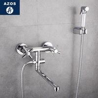 Azos биде кран под давлением душ сопла Латунь Chrome холодной и горячей переключатель два Функция Mop пруд Pet душевой комнаты круглый PJ