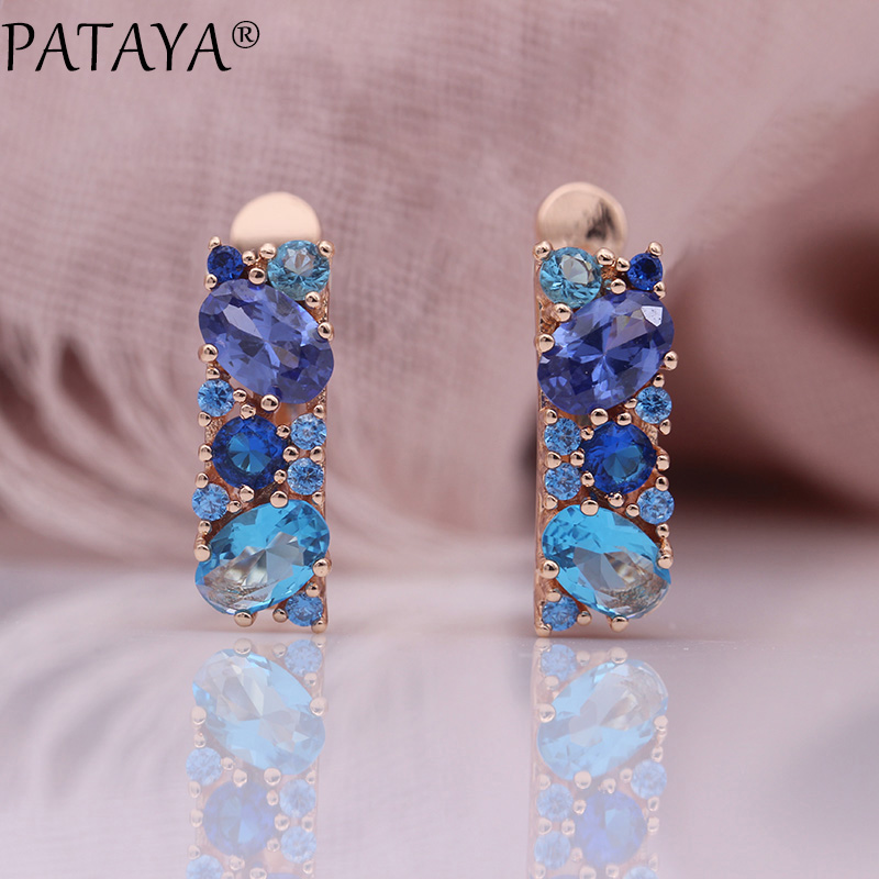 PATAYA New Mix Blue Earrings For Women Fashion Wedding Fine Noble Jewelry 585 Rose Gold Round Oval Natural Zircon Dangle Earring все цены