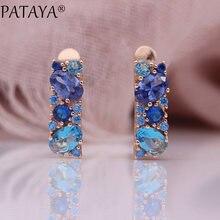 PATAYA – boucles d'oreilles mixtes bleues pour femmes, bijoux fins et nobles de mariage, en Zircon naturel, rond et ovale, en or Rose, nouvelle collection 585