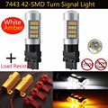 2X T20 7443 2835 42-SMD Dual Color White/Amber Switchback + 2 X Load Resistor Turn Signal LED Light