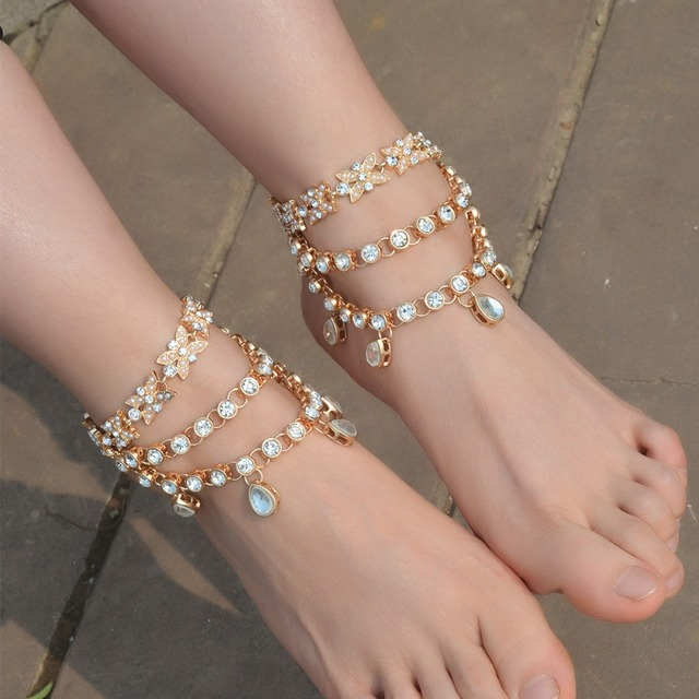 3d4765fb18334a Luxury New Fashion Bridal Barefoot Water Drop Rhinestone Sandals Wedding  Shoes Foot Jewelry Crystal Anklet Charm Bracelet