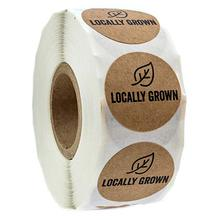 1 inch Round Natural Kraft Locally Grown cute Stickers Local Labels sticker 500 Labels/roll for vegetables shop
