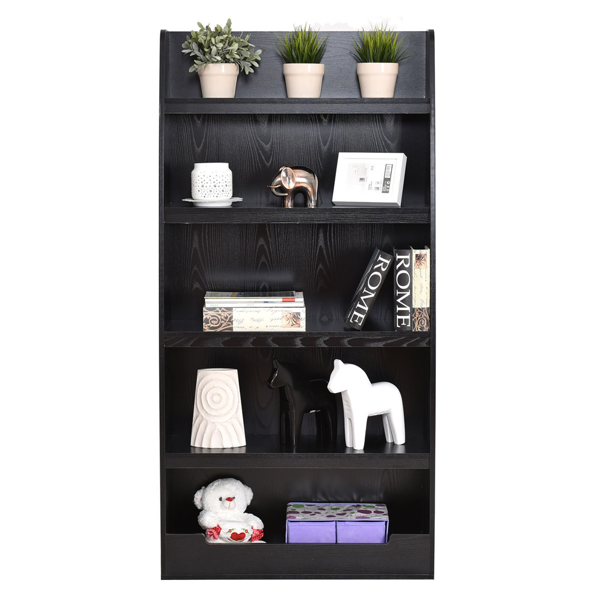 Giantex 5 Layers Bookcases Modern Living Room Bookshelf Storage Display Shelves Wooden Home Office Furniture HW55011