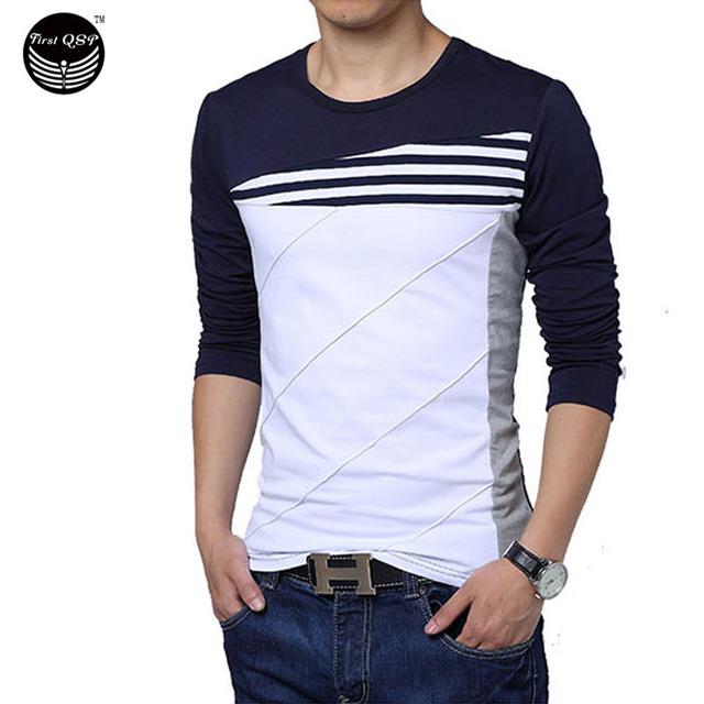 Camiseta Homme Tshirt Erkek Listras de Cor Feitiço Camisa De Compressão Tshirt Marca De Manga Comprida T-Shirt Camisas Homme Men Slim T camisa
