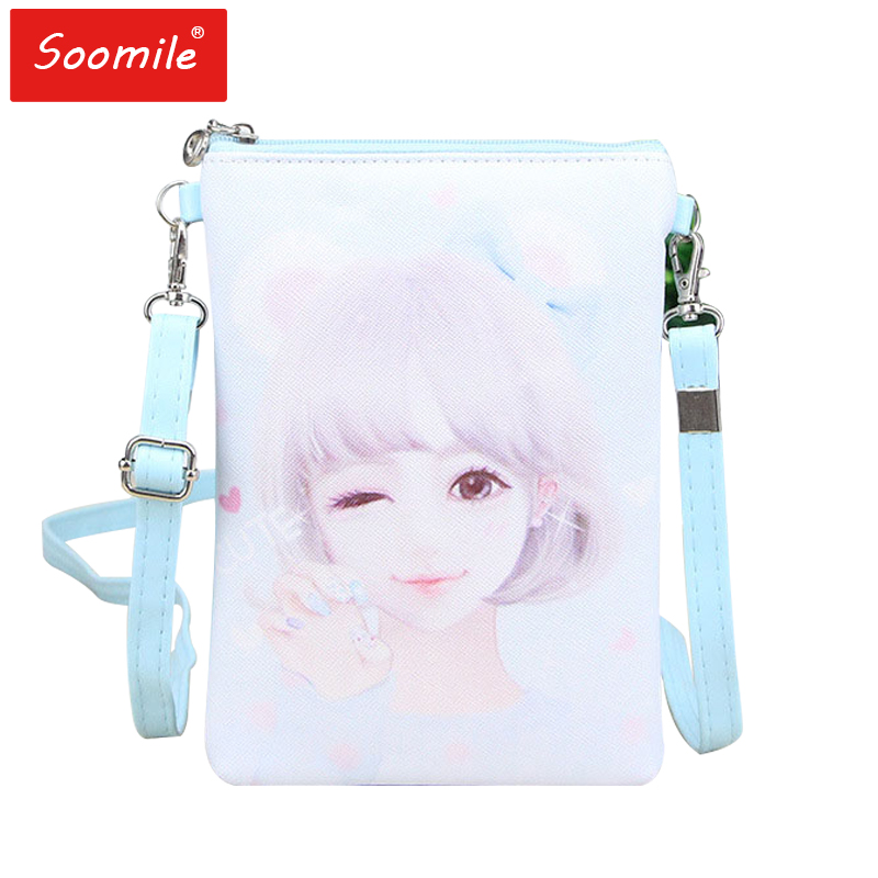 Soomile Cute girl cartoon pattern children bags for girls handbags Teenagers shoulder bag Mobile phone mini Crossbody bag gifts