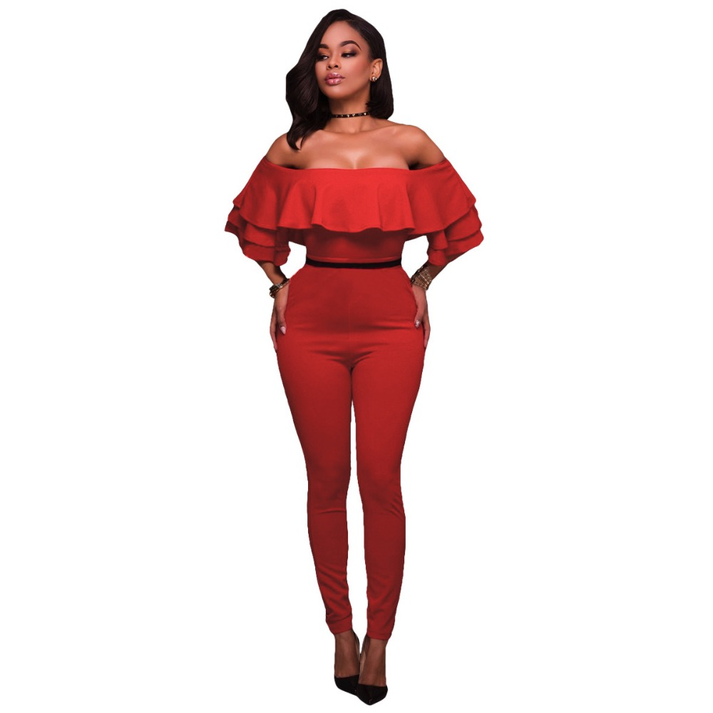 Women Off Shoulder Ruffles Jumpsuit Sexy Red Color Short Sleeve Slash Neck Bodycon Jumpsuits Plus Size Club Long Overalls
