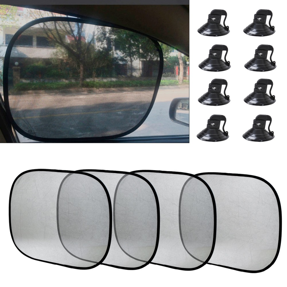 DWCX 4pcs Foldable Car Side Window Sun Shade Screen Visor Shield Cover for Ford Focus BMW E46 E90 VW Golf Audi A4 A6 Mazda 3 Kia image