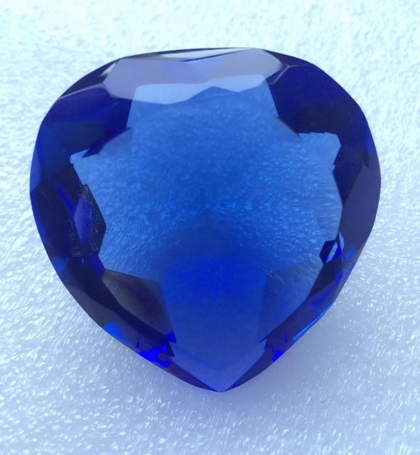 100pcs Blue Color Heart Shape Crystal Diamond Jewel Paperweight Wedding Decoration Best Souvenir Free Engraving