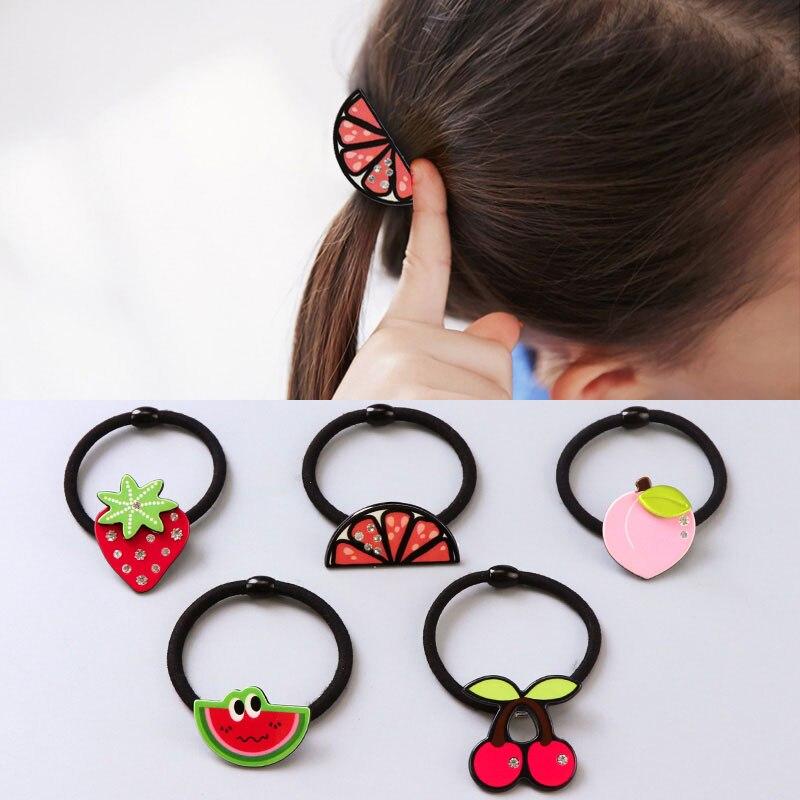 New Arrival Good Quality Cute Acrylic Cartoon Fruit Black Hair Band Girls Hair Oranment Accessories Elastic Headband Hair Holder