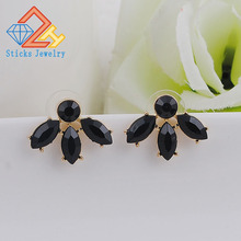 купить NEW Women Fashion Jewelry Style Black Earrings Handmade Rhinestone Sweet Crystal Stud Earrings for Women Girl по цене 230.33 рублей