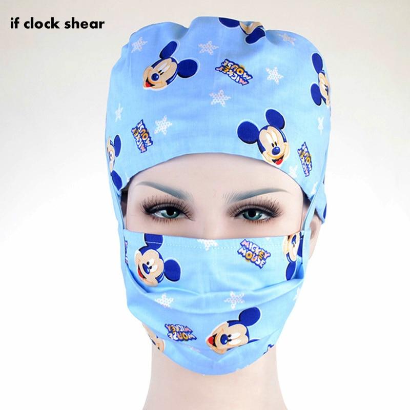 Unisex Surgical Caps Dentistry Doctor Nurse Caps Cotton Breathable Print Adjustable Pet Hospital Work Hats Beauty Pharmacy Hats