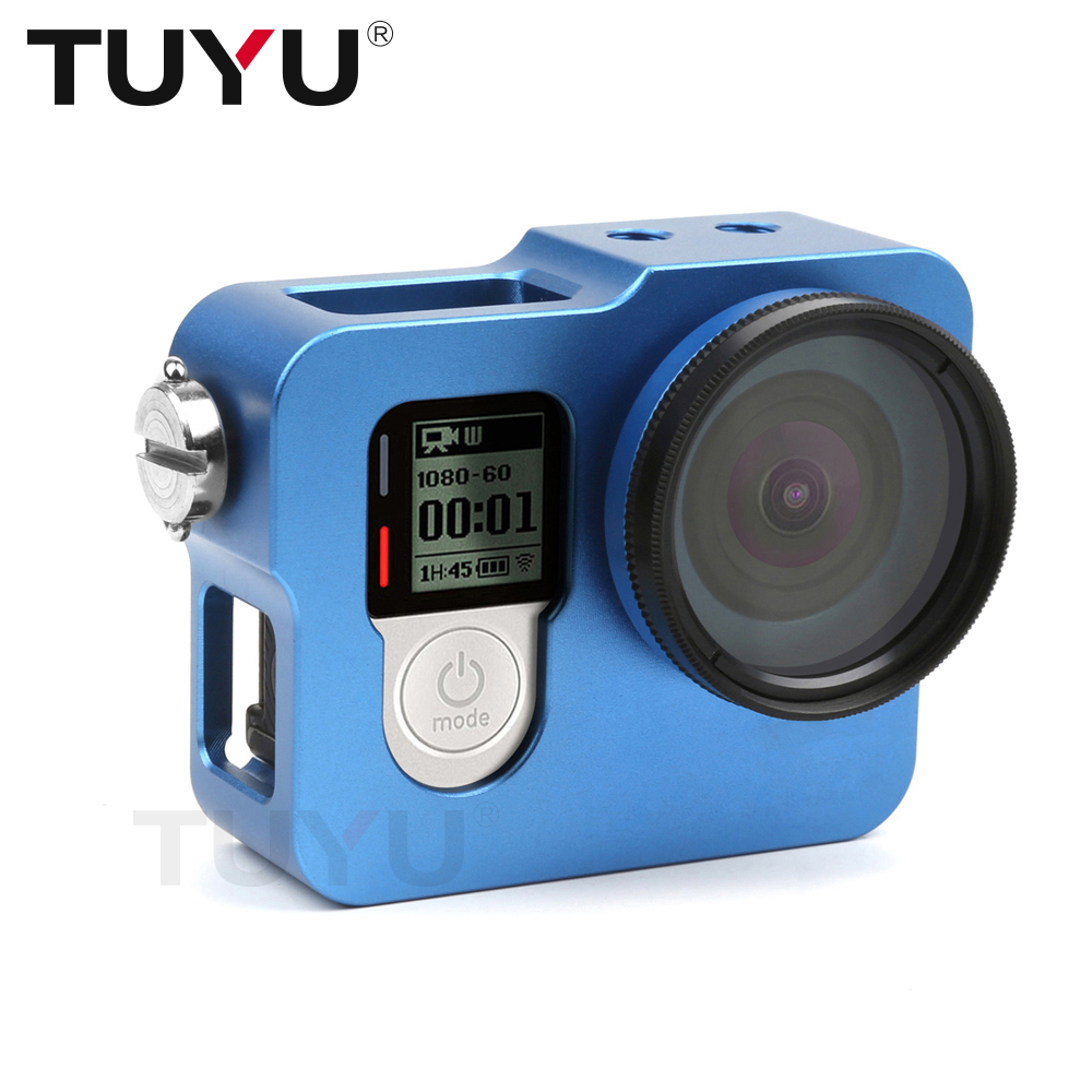 TUYU Aluminum Alloy Rugged Cage Protective Case for EKEN H8R H5S H6S H9r Plus V50 GoPro Hero 4 3+ Camera With Go Pro UV Lens Cap fat cat high precision cnc alluminum alloy lens strap ring for gopro hero 3 blue
