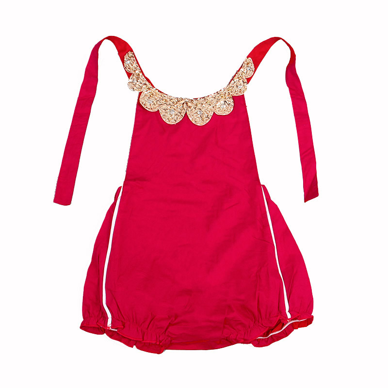 3fdd6a937d3 Baby Rompers 2016 New Summer Style Cotton Pearl Collar Red Baby Girls  Clothing Set 60 95cm Party Kids Jumpsuit-in Clothing Sets from Mother    Kids on ...