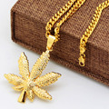 Golden Hemp Leaf pendant necklace High Quality Fashion Hiphop man Gold plated 70cm long chain statement necklace men jewelry
