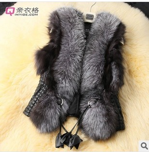 2017 short design female fox fur vest   leather   vest outerwear plus size fur vest women coat WAF-3410