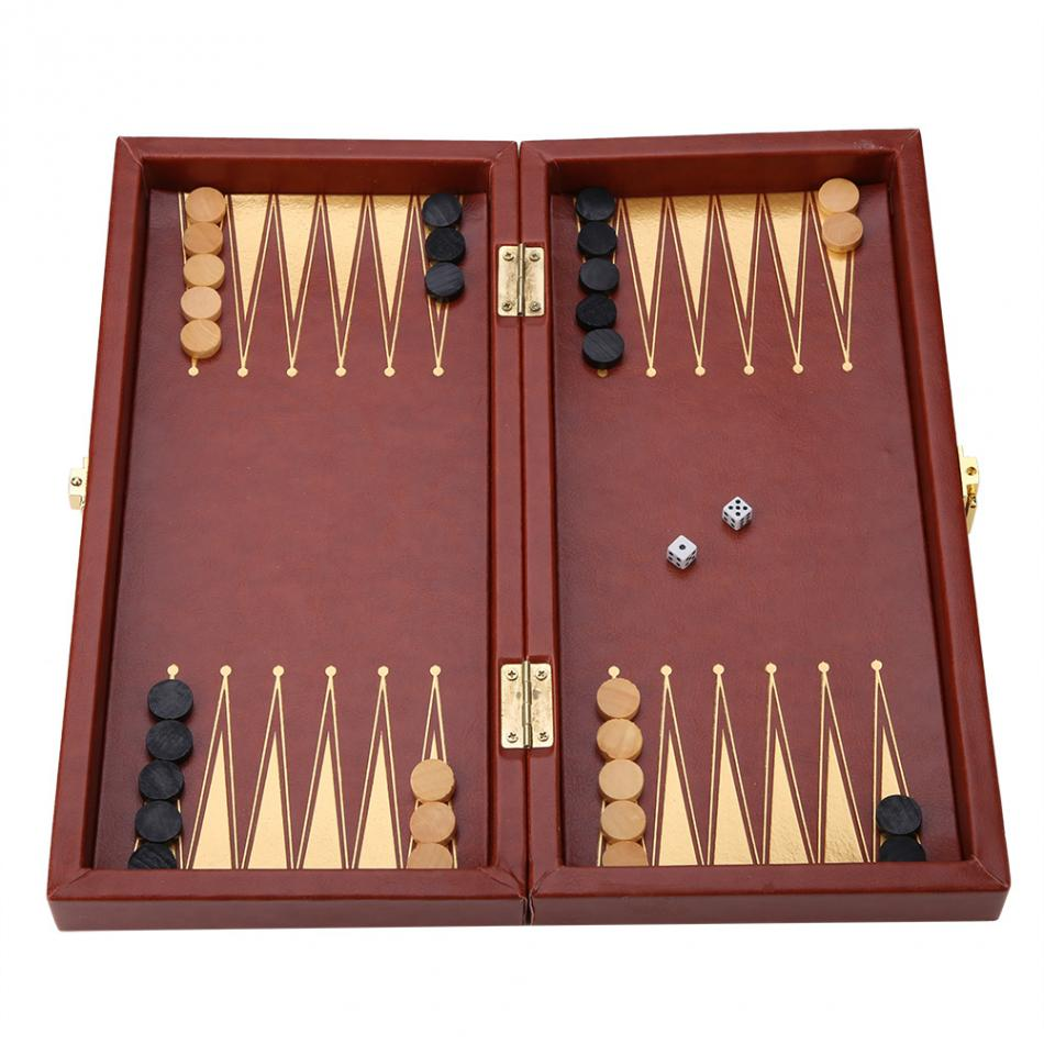 3 in 1 Portable Wooden Chess Checkers and Backgammon Board Game 15