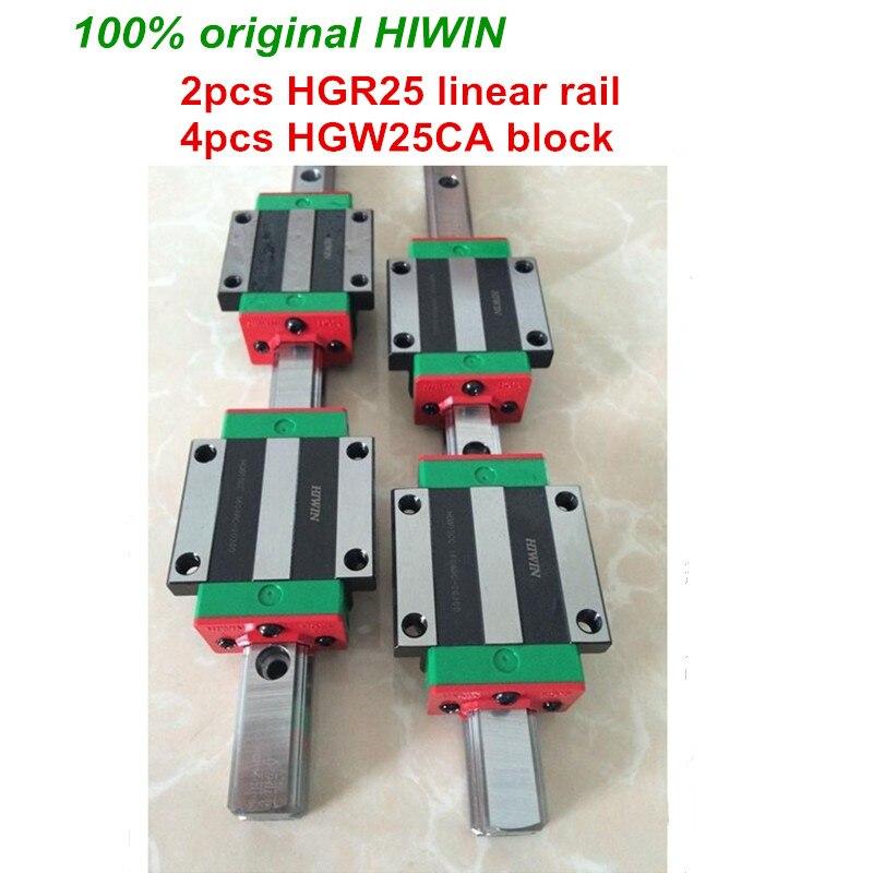 лучшая цена 100% original HIWIN 2pcs HGR25 200mm 300mm 400mm 500mm 600mm 700mm 800mm 1000mm Linear Guide rail + 4pcs HGW25CA HIWIN Carriage