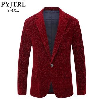 Winter Wine Red Burgundy Velvet Floral Pattern Suit Jacket Blazers