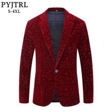 Jtrl 남자 가을 겨울 와인 레드 부르고뉴 벨벳 플로랄 패턴 정장 재킷 슬림 피트 블레이저 디자인 가수 무대 의상