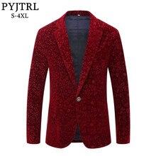 PYJTRL גברים סתיו חורף יין אדום בורדו קטיפה פרחוני דפוס חליפת Jacket Slim Fit בלייזר עיצובים שלב לזמרי