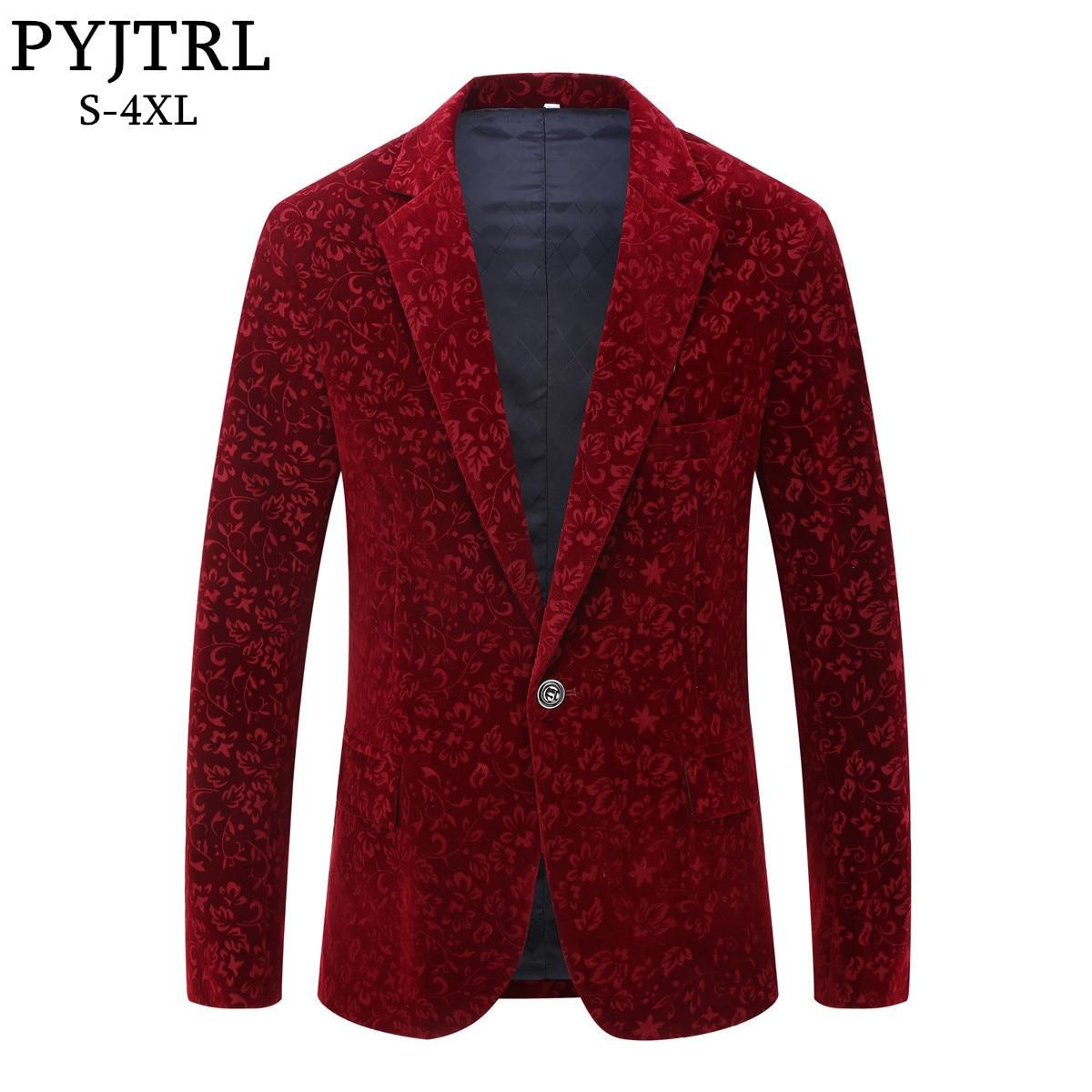 PYJTRL Männer Herbst Winter Wine Red Velvet Blumendruck Hochzeitsanzug Jacke Slim Fit Blazer Designs Bühnenkostüme Für Sänger