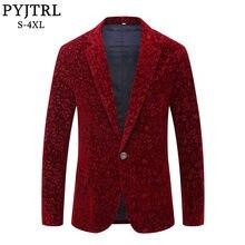 1097f39dd PYJTRL Men Autumn Winter Wine Red Burgundy Velvet Floral Pattern Suit Jacket  Slim Fit Blazer Designs Stage Costumes For Singers