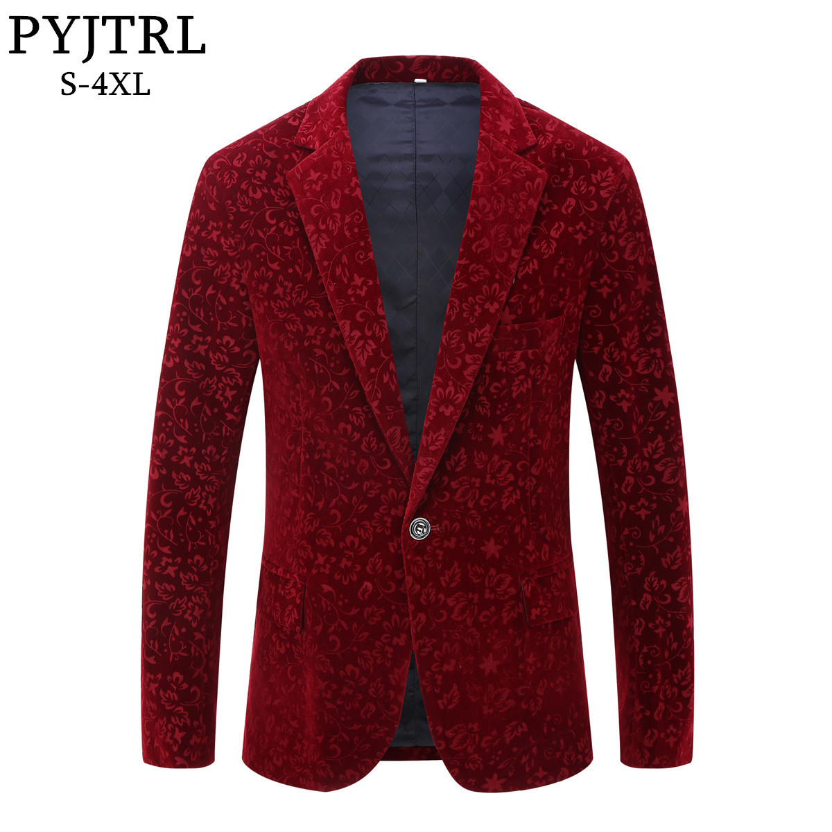 PYJTRL Men Autumn Winter Wine Red Burgundy Velvet Floral Pattern Suit Jacket Slim Fit Blazer Designs Stage Costumes For Singers
