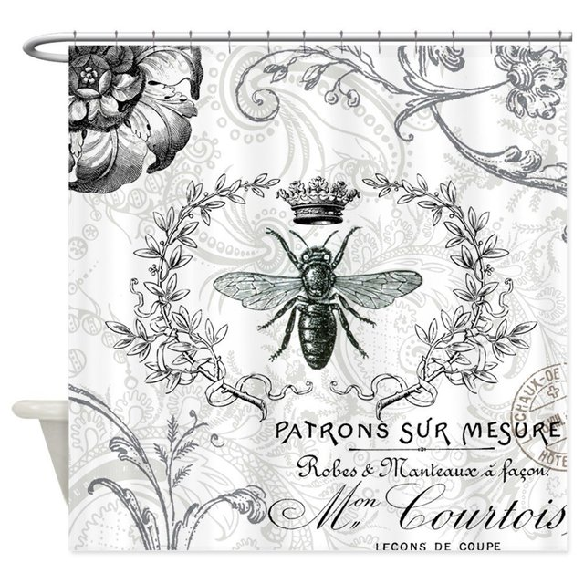 Vintage French Shabby Chic Queen Bee Collage Showe Decorative Fabric Shower Curtain Set And Anti