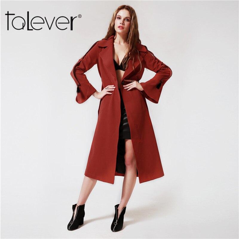 2017 Women Outwear Autumn Elegant Casual Female Trench Coats Trumpet Sleeves Sashe Streetwear Red Women Windbreaker Coat Talever