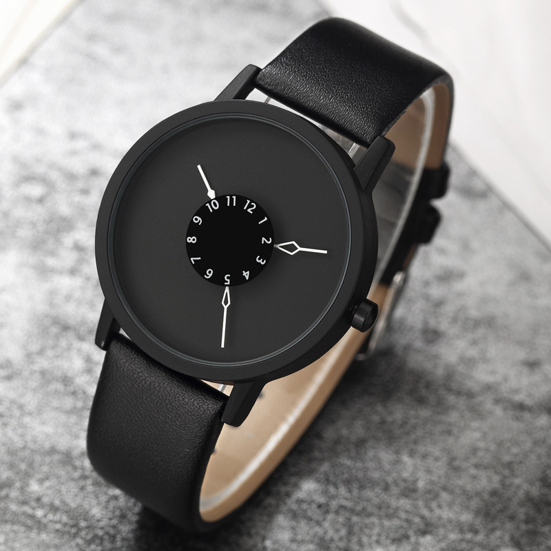 Paidu Fashion Cool Unique Design Quartz Wrist Watch Turntable Black Dial Clock Hours Mens Womens Gift Unisex relogio masculino