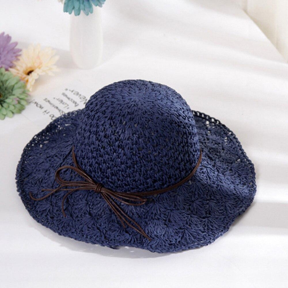 2019 summer sexy women\`s bow grass beach hat striped hood foldable rolled pretty beach hat seaside sports beach hat girl 40J5 (11)