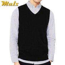 4 цвета, мужской свитер без рукавов, жилет, осень-весна, хлопок, вязаный жилет, свитер, базовый Мужской классический v-образный вырез, топы, новинка, M-3XL