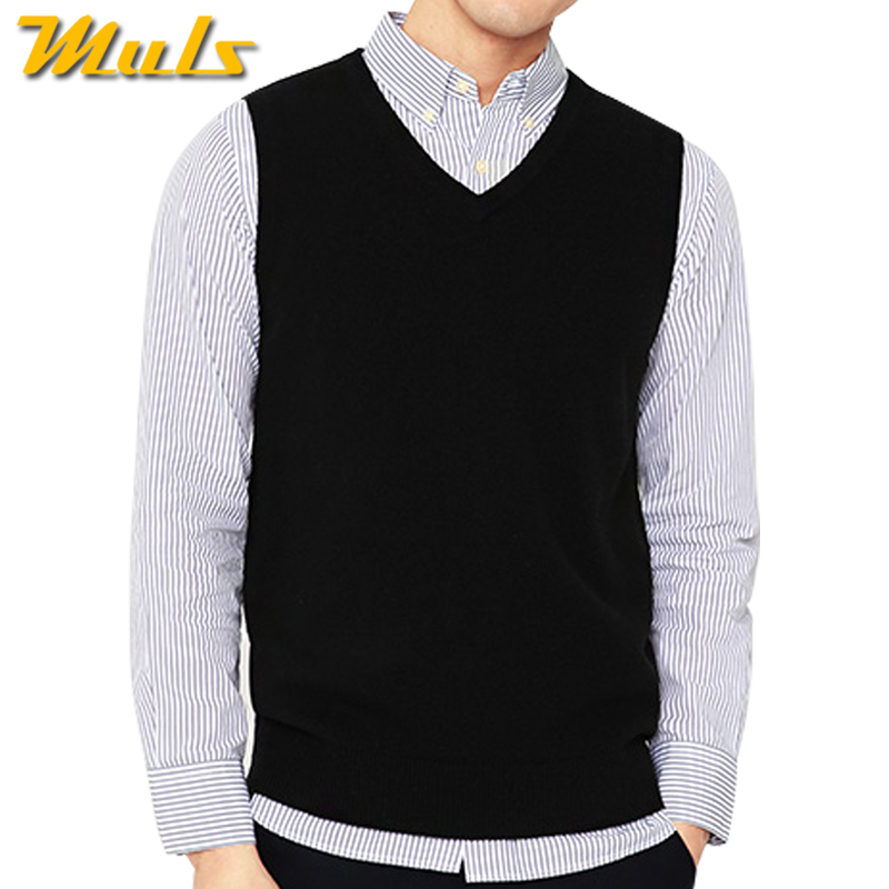 4colors Men Sleeveless Sweater Vest Autumn Spring 100% Cotton Knitted Vest Sweater Basic Male Classic V Neck Tops New M-3xl