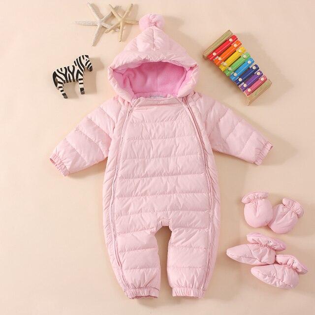 Горячая продажа! 2016 Детские тепловые комбинезоны Зима jecket snowsuit утка вниз комбинезон верхняя одежда платье, малыш мальчик зимнее пальто