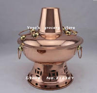 20cm China copper hot pot single thickened Mongolian Chinese old Beijing charcoal copper fondue stew small pot alcohol fuel