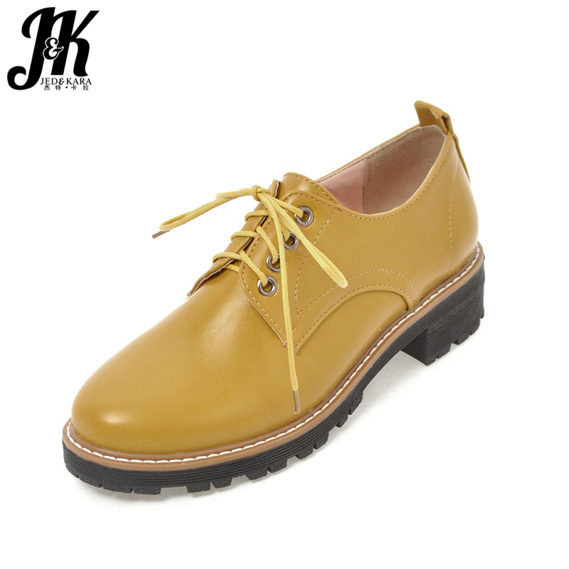JK New Med Thick Heels Women Pumps 2018 Spring Fashion Brand Ladies Casual Shoes Round Toe Cover Instep Lace Up Sewing Footwear xiaying smile woman pumps shoes women spring autumn wedges heels british style classics round toe lace up thick sole women shoes